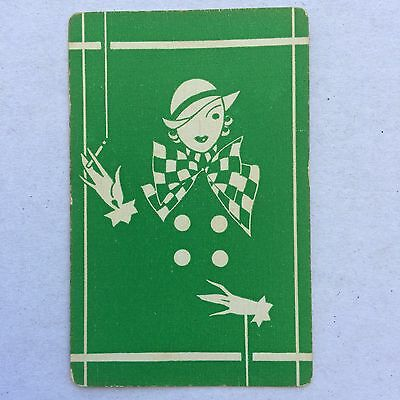 Vintage Swap / Playing Card - Lady with Checkered Bow Tie - Silhouettes - Linen
