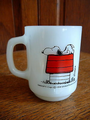 SNOOPY Vintage 1958 FIRE KING WHITE MUG - ALLERGIC TO MORNINGS - SCHULZ PEANUTS