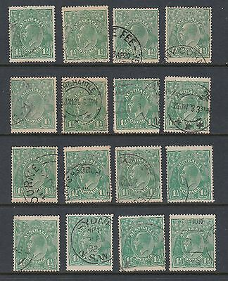 1923 1½d GREEN KGV, 16 stamps, USED