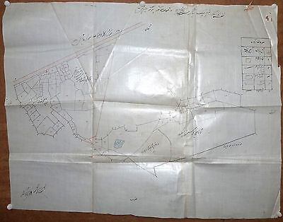 """India vintage hand drawn map on cloth paper with Urdu text 19.5""""x24.5"""""""