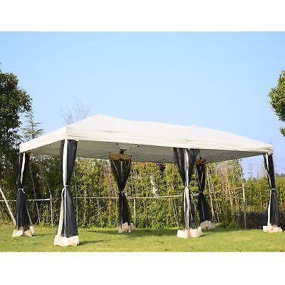 10' x 20' Pop-Up Party Tent Gazebo Wedding Canopy w/ Removable Mesh Sidewalls