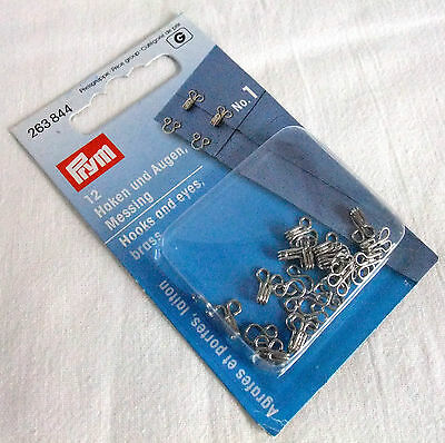 12 Prym Nickel-coated Brass Hooks and Eyes Size: No. 1