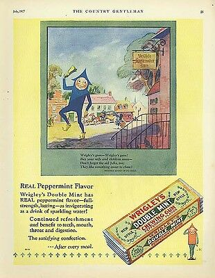 Wrigley's Double Mint Gum Spear Man bell ringer ad 1927