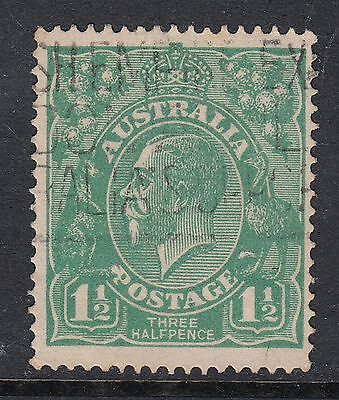1923 1½d GREEN KGV, Variety - flaw under emu's chest, USED