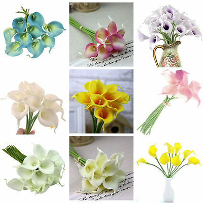 10 Head Latex Real Touch Calla Lily Flower Bouquets Bridal Wedding Home Decor HF