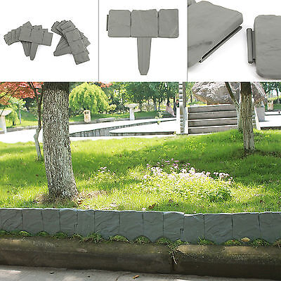 10 Pack Grey Cobbled Stone Effect Plastic Garden Fence Lawn Edging Plant Border
