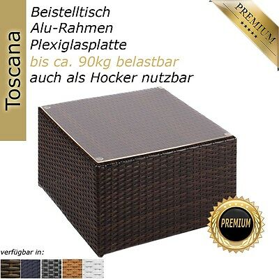 NEW Polyrattan side table for a garden or pool sunlounger sun chair, java brown