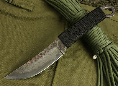 New High-carbon Steel Handmade Forged Damascus Hunting Fixed Knife H-HOLE