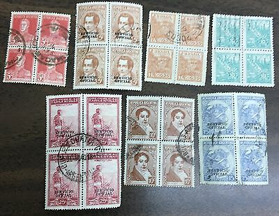 Stamps South America, 7 Blocks Of 4 Used Stamps