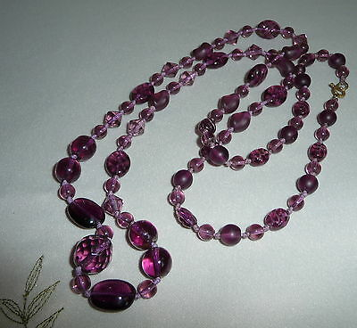 Vintage Art Deco Amethyst Coloured Crystal Knotted Longer Length Bead Necklace