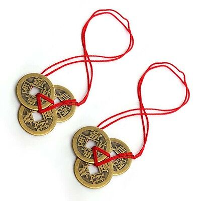 Old Chinese Bronze Lucky Wealth Fengshui Coins String Money Pendant Copper new