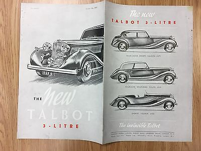 VERY RARE 1937 Colour / Silver TALBOT 3-Litre Car Advert / Brochure