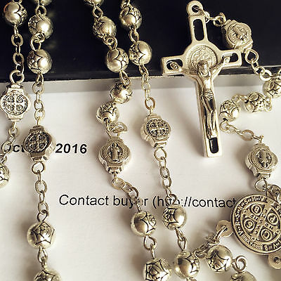St.Benedict Rosary & Italy Crucifix Cross Silver Rose beads medal necklace