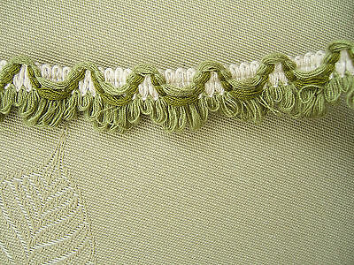 16m  LOOP FRINGE TRIM ..  GREEN'S ON CREAM.