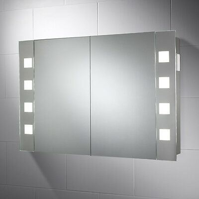 Two Door Illuminated Bathroom Cabinet With Sensor Shaver & Demister Pad Marcel