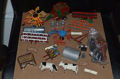 Vintage Britains Farm Tractor Implements & Animals Lot 1/32 Scale