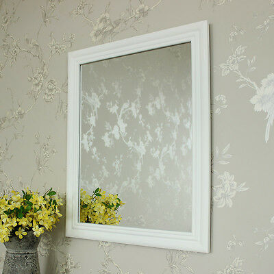 White wooden wall mirror shabby vintage chic bathroom bedroom hallway home gift