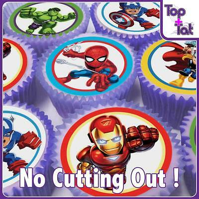 Pre-Cut 24 X Marvel Super Hero Squad Edible Cup Cake Wafer  Toppers - Birthday