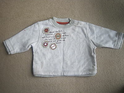 Mothercare Fleecy 3-6 Months Beige Cotton  Long Sleeve Top Very Cute