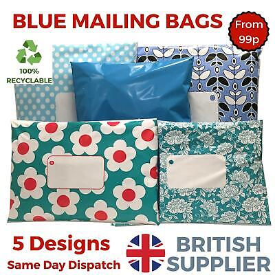 BLUE Post Postal Plastic Mailing Bags Coloured Polka Dot Daisy Floral Stars Spot