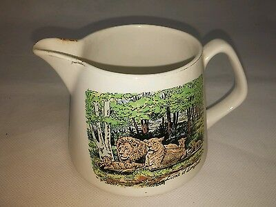 """Vintage - Lord Nelson Pottery Jug 'LIONS OF LONGLEAT' Theme 4"""" height ~ Cornwall"""