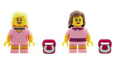 LEGO 2 x Mini Girl Female Minifigures in Pink Outfits with Pink Handbags NEW