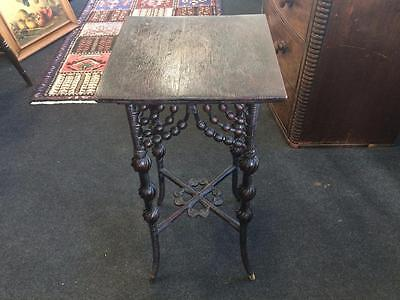Antique Wooden Ebonised Intricate Cane Occasional Table / Pedestal Table