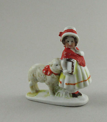 Vintage Hertwig Germany Ornament Bisque Fairytale Figure Mary Lamb #2230 e8