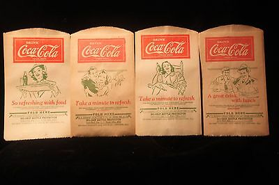 Vintage 1930's Coca Cola Bottle No Drip Bag Lot Of 4  Old Store Stock EXCELLENT