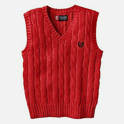 CHAPS LITTLE BOYS V-NECK VEST - COTTON KNIT - Cable - Red - NWT NEW