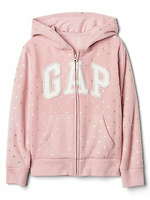 Girl GAP PINK Star SILVER Logo Hoodie Hooded Fleece Jacket 8-13y £22.95
