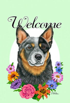 Large Indoor/Outdoor Welcome Flag (Flowers) - Australian Cattle Dog 63072