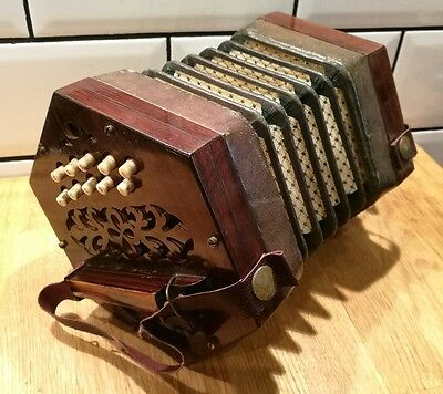 ~ANTIQUE CONCERTINA  ~Anglo Accordian ~Squeezebox? ~21 KEYS~ Case~ VGC~