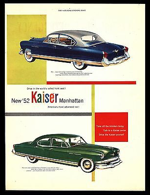 "Original 1952 ""kaiser Manhattan"" 4-Door Sedan Classic Car Advertising Print Ad"