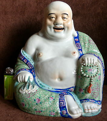 Chinese Antique Famille Rose Porcelain LARGE Buddha 20 th