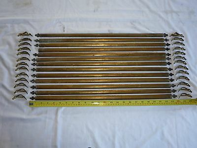 13 Victorian Brass Stair Rods complete with Original Clips