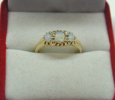 Antique Beautiful 18ct Gold Opal And Diamond Gypsy Ring Size N.1/2