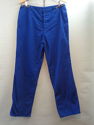 Vtg French blue cotton work trousers worker workwear chore pants