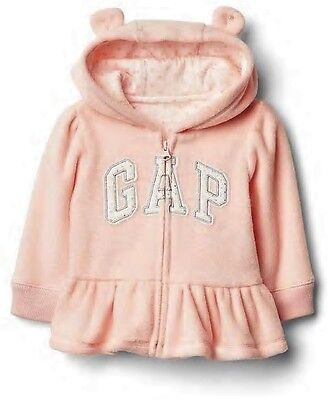 Baby GAP Girls SOFT PINK Logo Hoodie PEPLUM Dotty Hooded FLEECE Top 0-6m £19.95