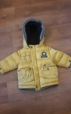 next boys 6-9 months coat yellow fully lined with hood