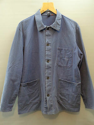 Vtg French cotton indigo HBT blue worker work chore jacket