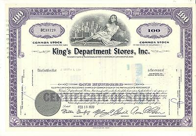 KING'S DEPARTMENT STORES, Inc. 100 Shares Stock Certificate