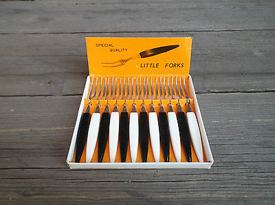12 VINTAGE 1960's BUFFET / COCKTAIL FORKS, STAINLESS STEEL - BOXED.