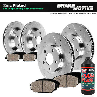 Front & Rear Drill Slot Brake Rotors And Ceramic Pads For Chevy Vette C6 XLR
