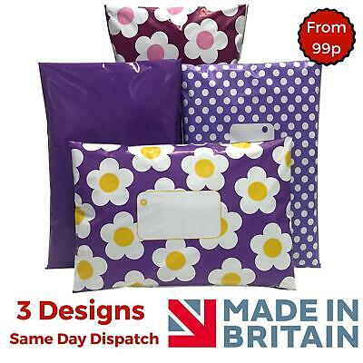 PURPLE Post Poly Plastic Mailing Bags packaging Postage Coloured Polka Dot Daisy