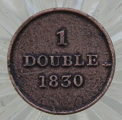 Guernsey 1830 1 Double Old British Copper Coin