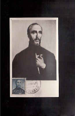 SPAIN 1953 MAXIMUM CARD, # C138 ST. FRANCIS XAVIER, Used Stamp is $14.00 !!