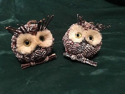 """5"""" Owl Ornament Pine Cones Natural Twigs Sisal Rustic Set of 2 New with Tags"""