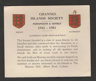 Channel Islands Society (Occupation Evacuees) Tenth Anniversary Card