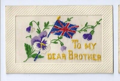 Postcard WW1 Silk To My Dear Brother Union Jack Flag